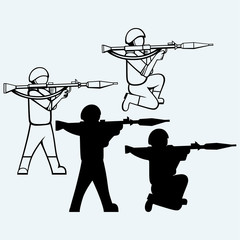 Mercenary shoot with a bazooka. Isolated on blue background. Vector silhouettes