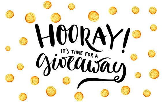 Giveaway banner for social media contests and special offer. Vector hand lettering at gold dots background. Modern calligraphy style