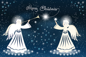 Christmas card with Angel and stars on the night sky.