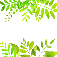 Spring frame with bright green leaves. Vector watercolor illustr