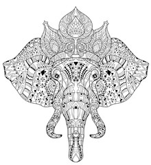 Elephant head zentangle doodle on white vector sketch.