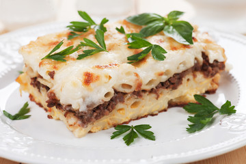 Pasticcio with ground beef and bechamel sauce