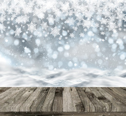 3D wooden table on a Christmas snowy background