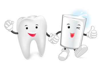 Glass of milk and tooth. Vector cartoon. Friends forever. comic characters.