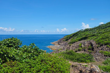 Beautiful blue sky and emerald sea at Tachai Island, Phuket, Thailand