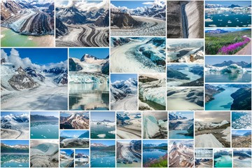 Alaskan glaciers collage