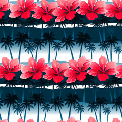 Tropical hibiscus flowers in a seamless pattern with blue palm t