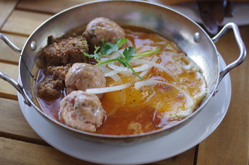 breakfast with Vietnamese meatball with eggs and pâté in Vietnam, South East Asia
