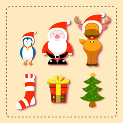 Christmas elements, Cartoon charactor element material design for christmas ceremony