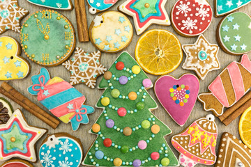 mixed colorful christmas gingerbread cookies