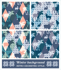 Winter geometric seamless patterns.