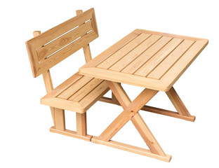 wooden table and chair