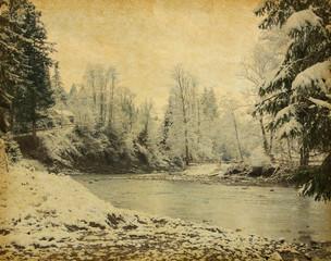 Retro image of winter landscape in the carpathians mountains . Ukrane