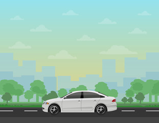 Car on the road with forest and cityscape background