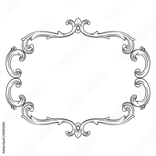 quotvintage baroque frame scroll ornament engraving border