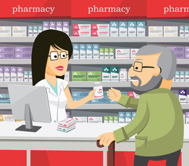 Pharmacist chemist woman in pharmacy. Senior buys drugs at the pharmacy. Sale of vitamins and medications. Funny vector cartoon simple illustration.