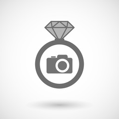 Isolated vector ring icon with a photo camera