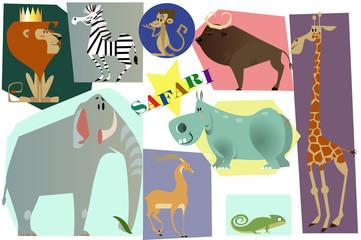 set with safari animals