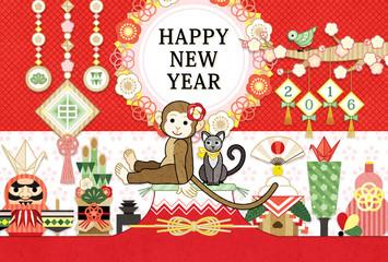 2016年申年完成年賀状テンプレート「猿と猫と縁起物」HAPPYNEWYEAR