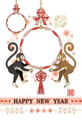 2016年申年完成年賀状テンプレート「猿と和風の飾り物」HAPPYNEWYEAR写真フレーム
