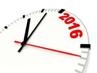 Clock with 2016 New Year sign