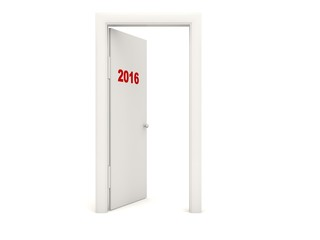 Door with 2016 New Year sign