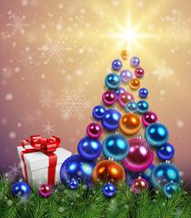 Christmas background with christmas tree, gift box and shiny balls