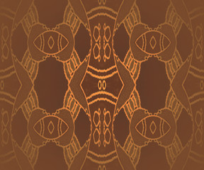 Abstract geometric plain background, seamless fancy ornaments, golden shimmering outlines on dark brown, centered and blurred, drawing