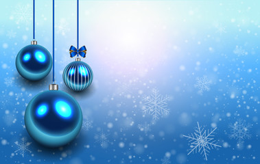 Christmas background with glossy balls and snowflakes