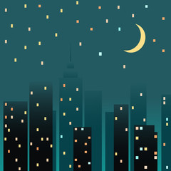 Night cityscape. Vector illustration