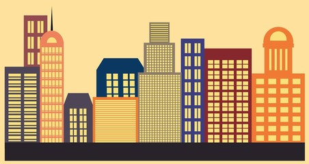 Colorful cityscape, buildings vector illustration