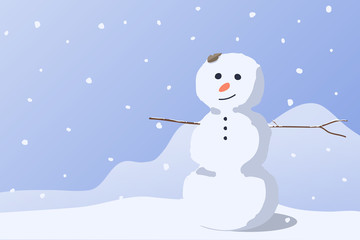 A kind snowman at snow hill, romantic happiness scene background, vector illustration.