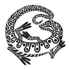 Stylized lizard ornate patterns