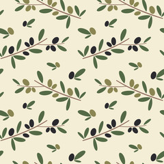 black and green olive branch seamless vector pattern background illustration