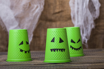 Disposable cups with ghost faces