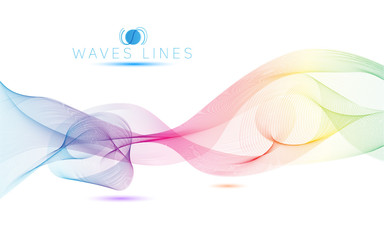 rainbow colorful light waves line bright abstract vector pattern
