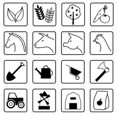 Farm. A set of flat black and white icons.