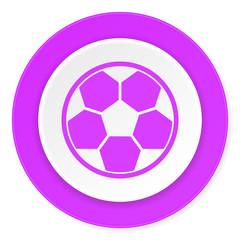 soccer violet pink circle 3d modern flat design icon on white background