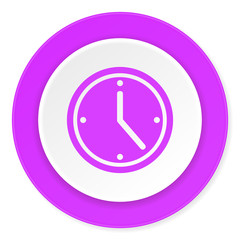 time violet pink circle 3d modern flat design icon on white background
