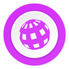 earth violet pink circle 3d modern flat design icon on white background