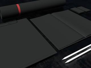 Black color set of mockup elements on the black background. 3d render
