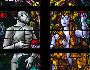 Fototapete - Adam and Eve with an apple and the snake