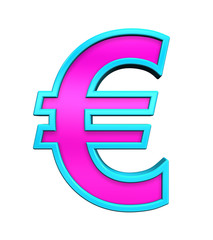 Euro sign from pink glass with blue frame alphabet set, isolated on white. Computer generated 3D photo rendering.