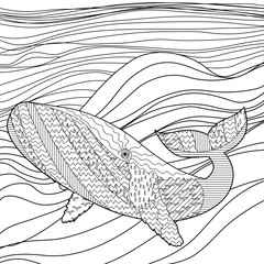 Whale in the waves for anti stress coloring page.