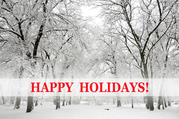 Snow-covered trees and happy holidays text