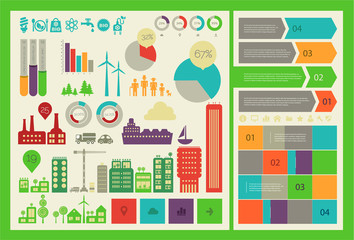 Flat eco city infographics template