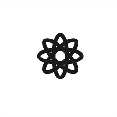 Black structure of the atom vector line icon