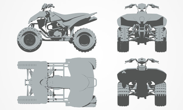 Front, top, back and side quad bike projection