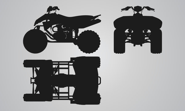 Front, top and side quad bike projection