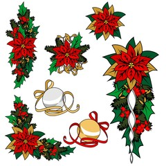 Collection of Christmas images. Christmas decoration, flower, ornaments.